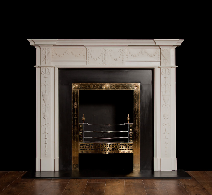 Reproduction Georgian Fireplaces Part - 16: Darley (White) -Georgian Style Marble Fireplace