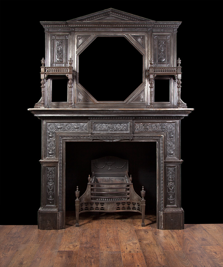A Magnificent Victorian Cast Iron Fireplace With Mirrored Over Mantle