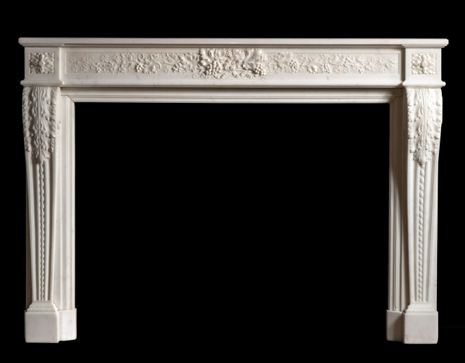 French Style Carved Marble Fireplace