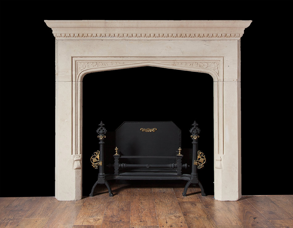 Portland limestone fireplace in the tudor revival style for Tudor style fireplace