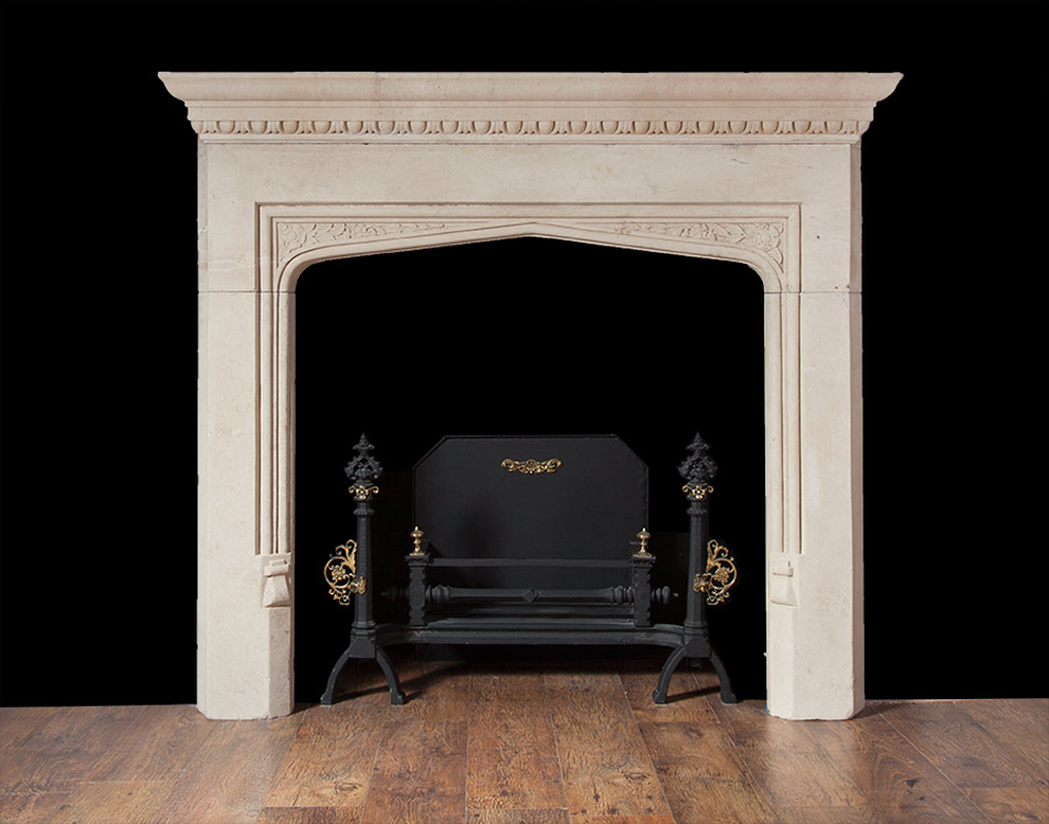 Portland Limestone Fireplace In The Tudor Revival Style