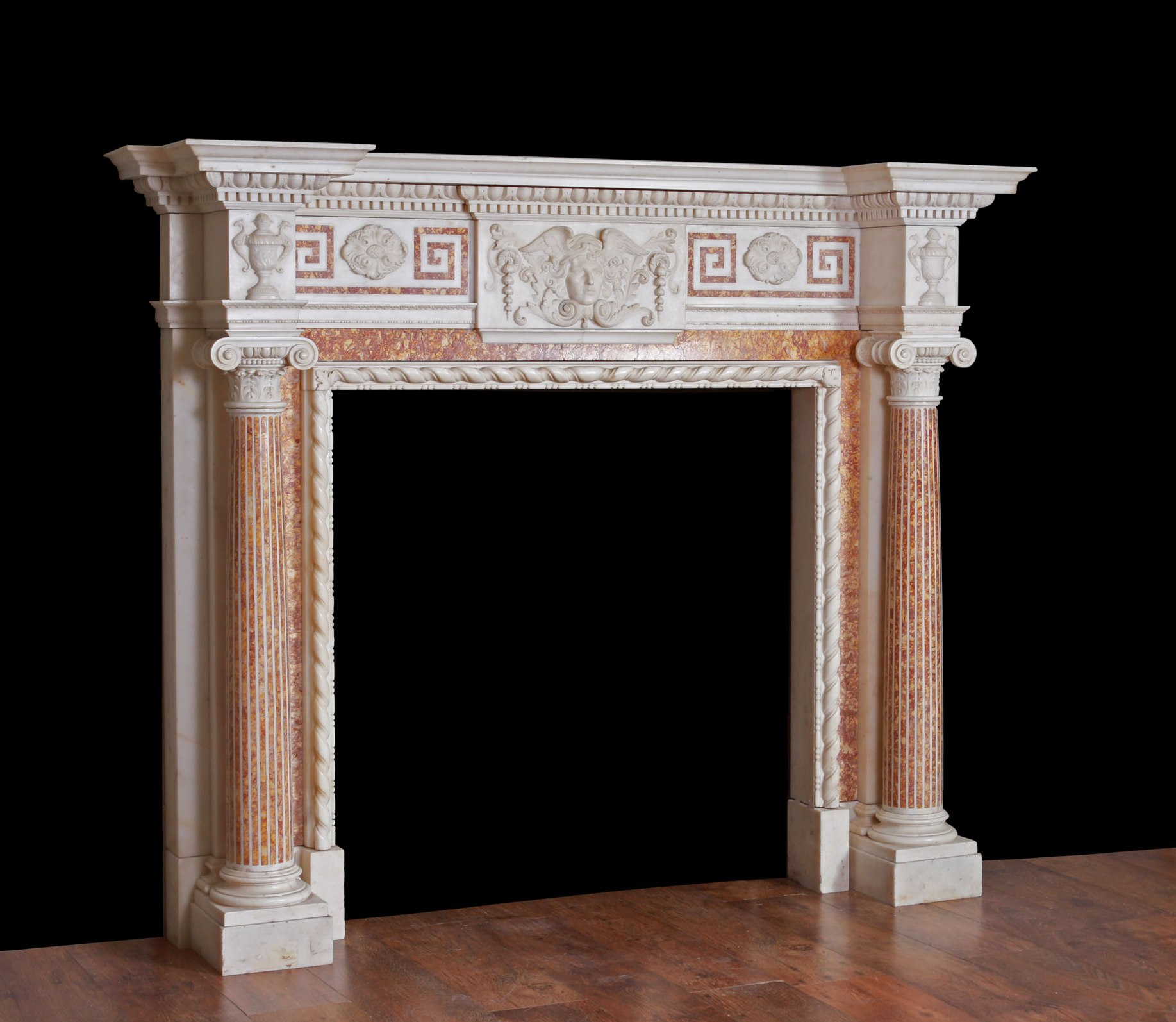 antique white statuary carrrara marble fireplace