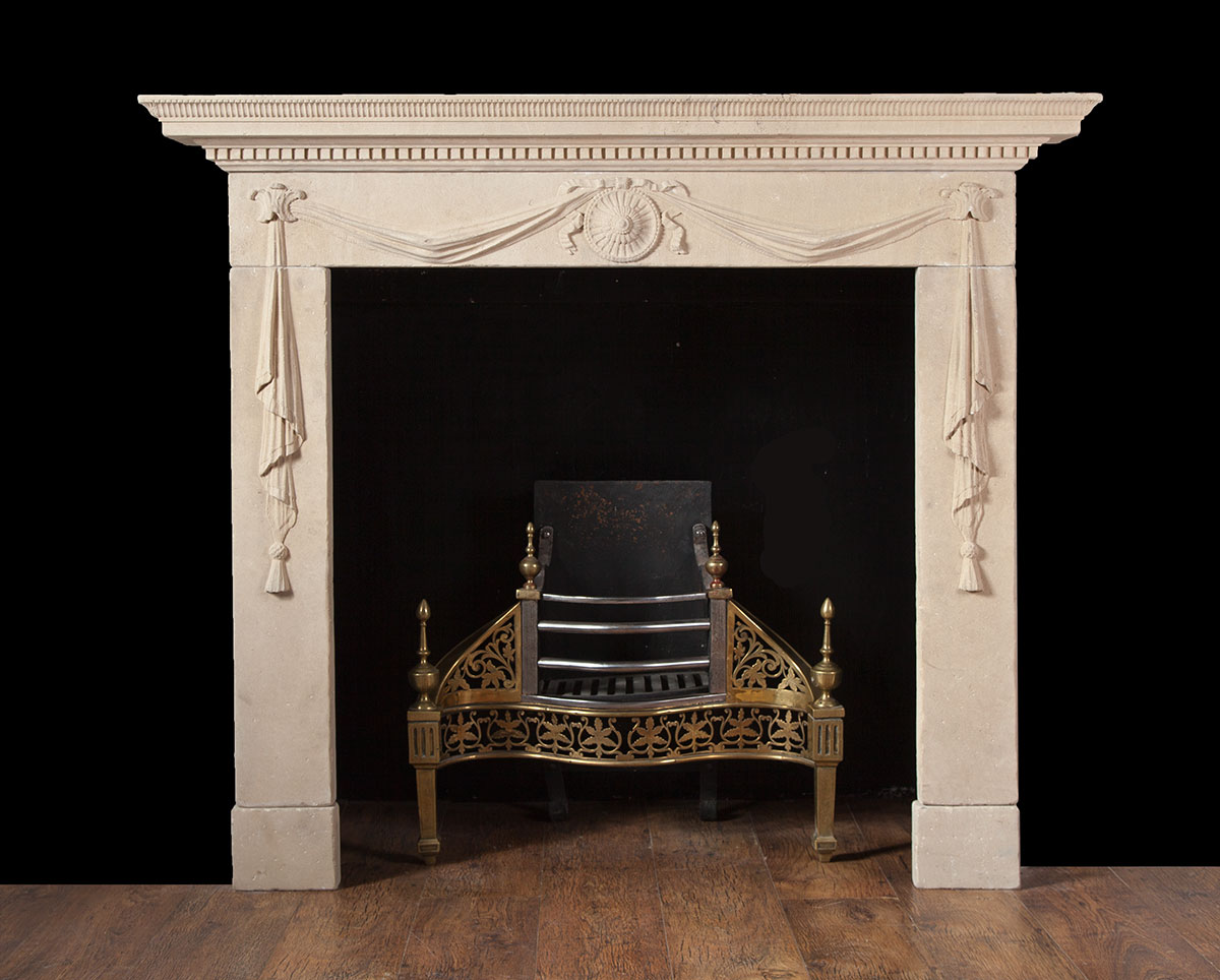 Antique Portland Limestone Fireplace – ST015