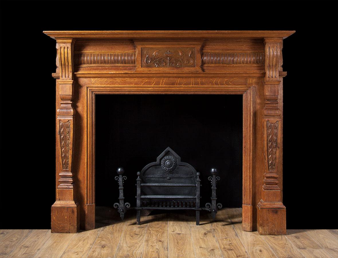 Antique Oak fireplace – W087