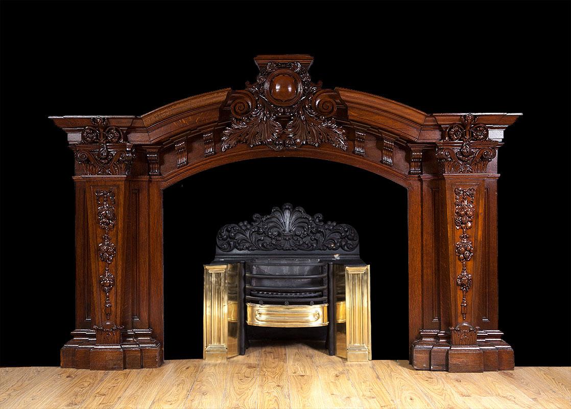 Antique Baroque Oak Fireplace – W094
