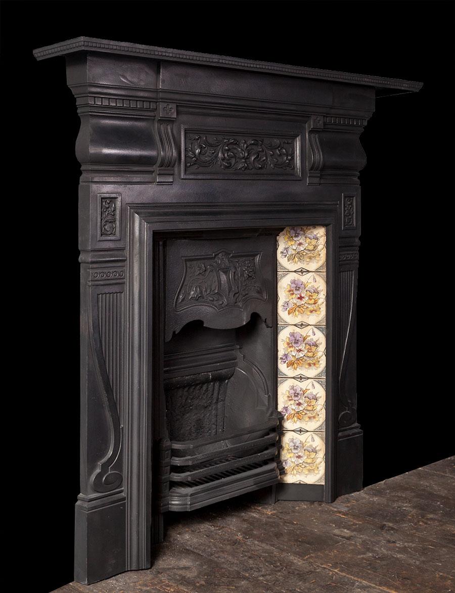Antique Cast Iron Fireplace Ci169 19th Century