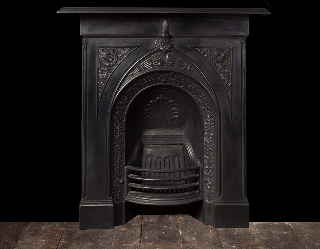 Antique Cast Iron Fireplace Ci171 19th Century