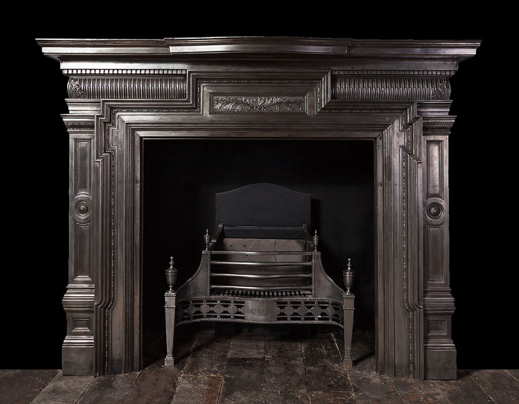 Cast Iron Fireplace Ci172 19th Century Antique Cast