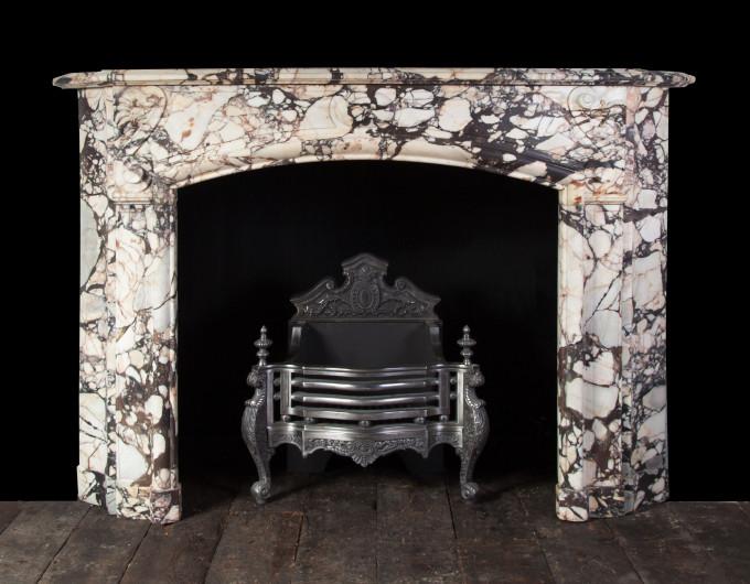 Antique Breccia Violetta Marble Fireplace