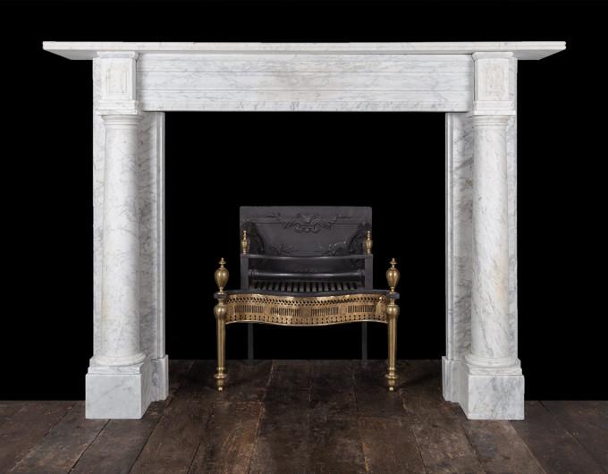 Antique Carrara column fireplace