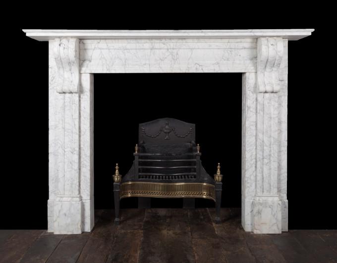Antique Carrara corbel fireplace