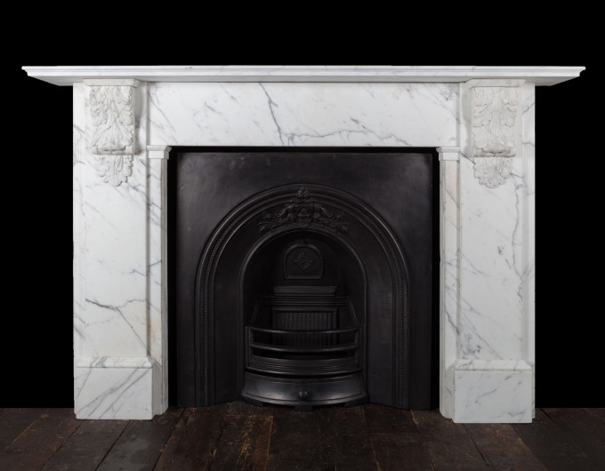 Carrara marble corbel fireplace