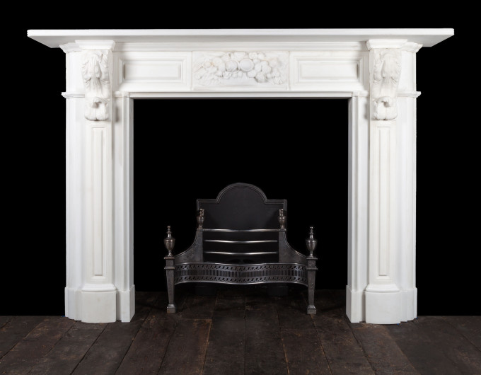 Carved Irish corbel fireplace
