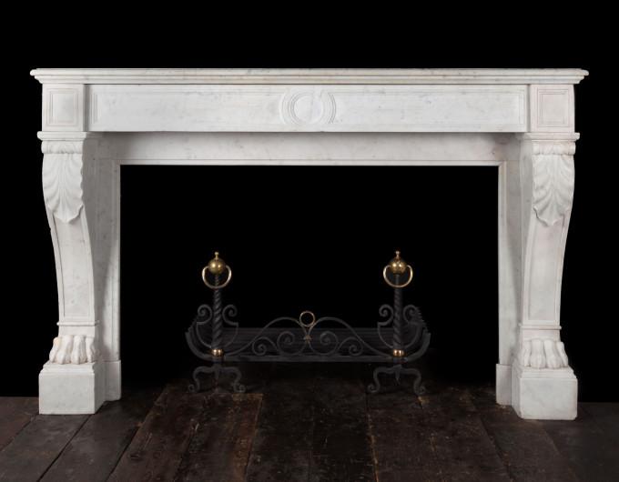 Antique Carrara Marble Fireplace