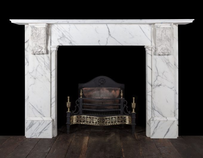 Antique Carrara corbel fireplace