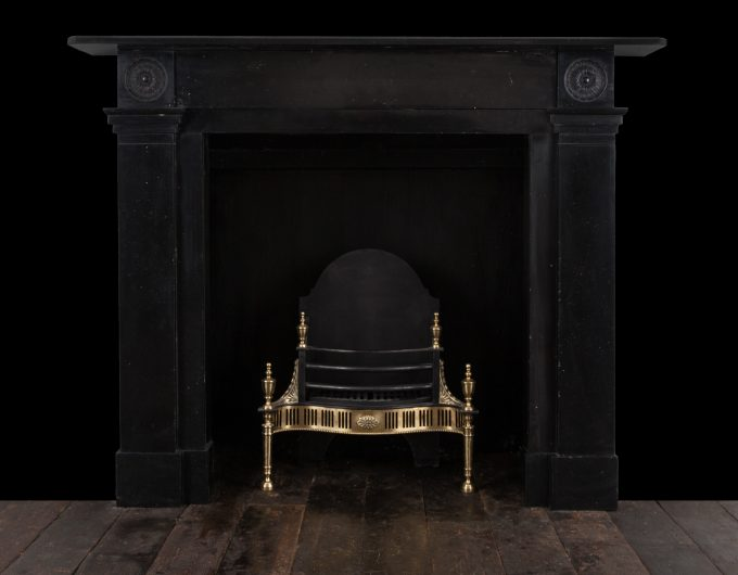Pair Black Kilkenny marble fireplaces
