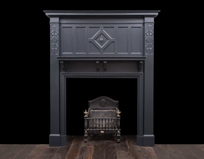 Antique painted wooden fireplace