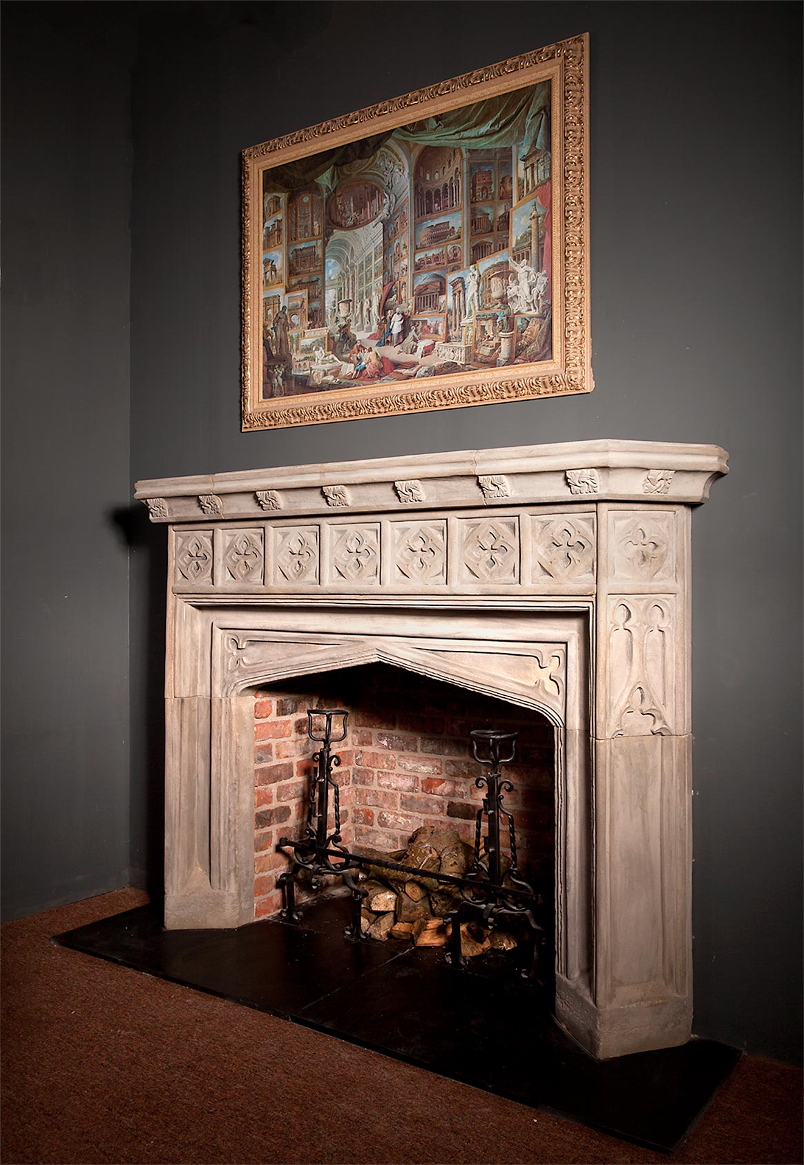 Large Gothic Revival Stone Reproduction Fireplace # Augustus Pugin Muebles